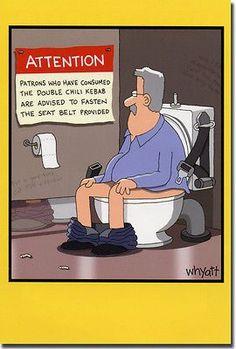 Warning in Bathroom Stall Funny Tim Whyatt Birthday Card by Nobleworks Cartoon Jokes, Funny Cartoons, Funny Comics, Haha Funny, Funny Cute, Hilarious Memes, Funny Stuff, Satire, Chistes