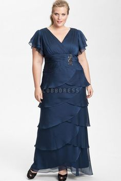 Chiffon Short Sleeve V-neck Plus Size Fall Mother Of The Bride Dress