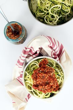 """Spiralized zucchini with roasted tomato """"pesto""""... I used half parsnips/half zucchini and actually preferred the texture of the parsnips..."""