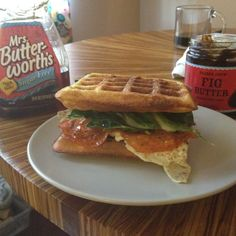 It's a picture of our breakfast lunch! Take the low carb waffles I pinned,use them for the sandwich part. I pour syrup on one waffle and let it soak. The fixings are 4slices of calabrese, two slices of low fat low carb Scottish aged cheddar, an egg and some red chard. The syrup is low carb and sugar free and I put some on the plate for dipping sauce. The hubs likes it with fig butter, I like without. The combo of sweet and savory is out of this world! And it's gluten free and low carb!!!