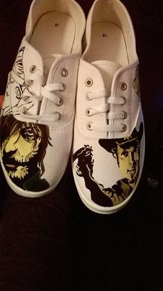 The Walking Dead Custom Hand Painted Fan Art Shoes ft. Rick, Carl and Daryl #na