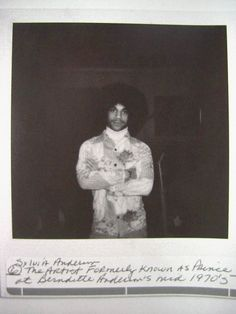"""Prince at Berndette Anderson's in the mid 70s"" Sylvia Anderson shared photo, the Anderson's were Andre Anderson's family, aka Andre Cymone, Prince's childhood friend and later band member and associated artist. Berndette took Prince in for a time, Silvia most likely shared this photo of the photo in the 90s."