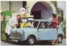 Automotive Postcard Austin 7 Mini Car Mayfair Cards Petrol Pump Brochure | eBay