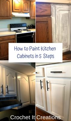 How to Paint Kitchen Cabinets in 5 Steps How to Paint Kitchen . How to Paint Kitchen Cabinets in 5 Steps How to Paint Kitchen Cabinets in 5 Steps - Crochet it Creations Diy Kitchen Remodel, Diy Kitchen Cabinets, Kitchen Redo, Kitchen Remodeling, Kitchen Cabinet Makeovers, Kitchen Counters, Refurbished Kitchen Cabinets, Diy Kitchen Makeover, Kitchen Furniture