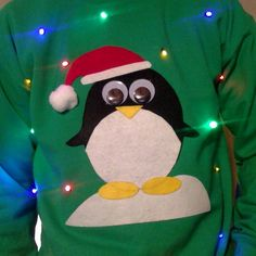 Light Up UGLY CHRISTMAS SWEATER - Penguin!! (Also available in Hoodie and Kid's Sizes!) _____**Fast Shipping**_____ by DecalsAffordable on Etsy (null)