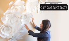 DIY How to Make a Giant Paper Flower Backdrop - Rose / Mural de Flores de Papel (Rosa) Wall Mural Part 2