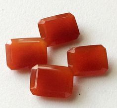 4 Pcs Orange Chalcedony Emerald Cut Stones Orange by gemsforjewels