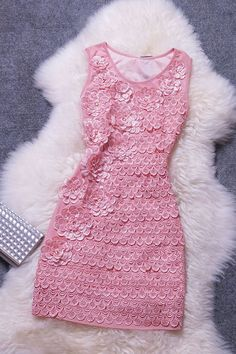 Sweet Temperament Embroidered Lace Dress FGH42114UY