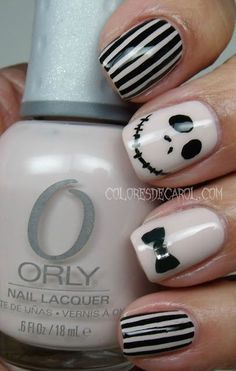 Black and White Tim Burton Nails