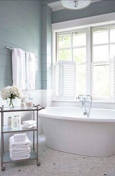 "Bathroom Paint Color: ""Sherwin-Williams SW7621 Silvermist""."
