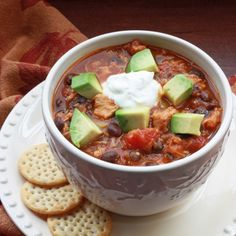 This Slow-Cooker Pumpkin and Black Bean Turkey Chili is a great way to use leftover turkey after the holidays.