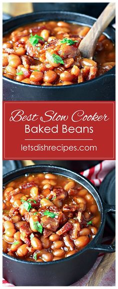 Best Slow Cooker Baked Beans Recipe -- Pork and beans simmer in the slow cooker with bacon, garlic, and jalapenos, in a sweet and savory maple barbecue sauce. Slow Cooker Baked Beans, Best Slow Cooker, Crock Pot Slow Cooker, Crock Pot Cooking, Lentil Recipes, Pork Recipes, Paleo Recipes, Slow Cooker Desserts, Slow Cooker Recipes