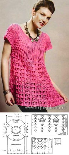 Knitted tunic for stout women with schemes