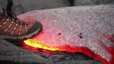 Lava is both very dense and very viscous, so, as illustrated in the animation above, it does not give all that much under pressure. If you were to fall on it, you'd land, sink a little bit, and then get burned. It's also interesting to note that the lava springs back after being indented.