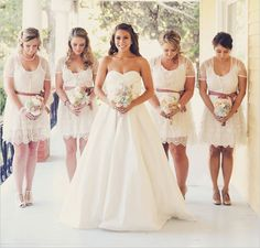 The key to differentiating the wedding dress with the lace bridesmaid dresses is by using color in the lace or the lining layered beneath the lace. Description from attractiveattire.com. I searched for this on bing.com/images