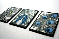 Christmas stocking stuffer, mini artwork prints with glitter & Swarovski crystals peacock decor, peacock feather Christmas gift. $25.00, via Etsy.