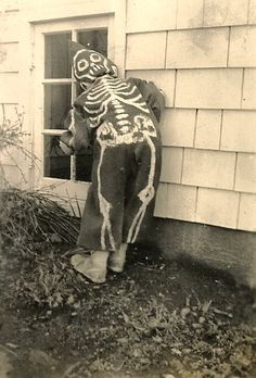 Vintage Photo~Halloween, Look...the Kid has it on Backwards....COOL!