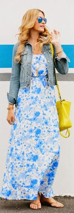 Old Navy White And Blue Vintage Floral Maxi Dress by A Little Dash Of Darling