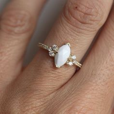 Black Friday SALE Vintage Marquise Opal Engagement Ring 1100959
