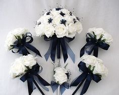 Wedding flowers - brides with 4 flowergirls posies bouquets in ivory & navy blue
