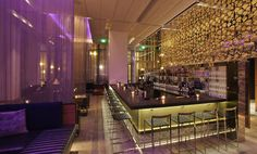 The gorgeous W Hotel in Boston. Coiled wire mesh backrop by Cascade Coil.