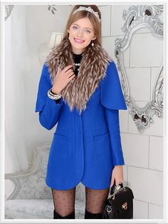 Morpheus Boutique  - Blue Hair Collar Trench Lovely Long Sleeve Jacket Coat, CA$194.85 (http://www.morpheusboutique.com/blue-hair-collar-trench-lovely-long-sleeve-jacket-coat/)