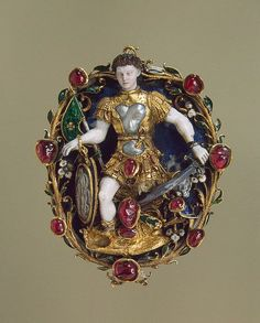 Mars pendant. Gold, silver, lapis lazuli, opal, rubies, pearls, chalcedony; carved, chased, polished and enameled. France, c. 1550. The Hermitage. https://s-media-cache-ak0.pinimg.com