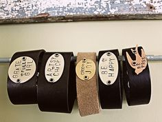 Leather Cuffs with Stamped Metal Inspirations