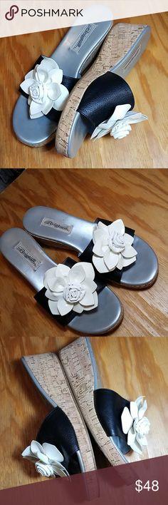 14d88c1ec Brighton Helena leather slide sandals with flower Brighton Helena slide  cork wedge sandals