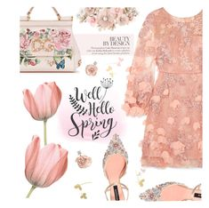 """Hello Spring"" by einn-enna ❤ liked on Polyvore featuring Notte by Marchesa, Rochas, Dolce&Gabbana, Badgley Mischka, Accessorize, Cricut and springdresses"