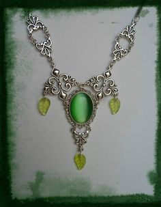 Necklace green cameo jewelry gothic