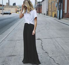 Tied shirt and maxi skirt