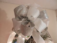 Large Christmas Tree topper bow  Silver by creativelycarole
