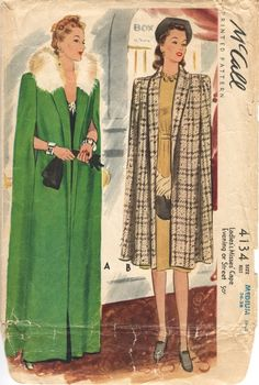 McCall 4134 Vintage Women s Sewing Pattern Fur Collar Cape Day or Evening size small Bust 32 - 34 repro reproduction 40s Mode, Retro Mode, Moda Retro, Moda Vintage, Vintage Dress Patterns, Clothing Patterns, Retro Fashion, Vintage Fashion, 1940s Fashion Women