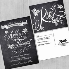 Printable Wedding Invitations - with RSVP cards - Vintage Roses - Chalkboard - Digital Files - DIY Wedding on Etsy, $40.00