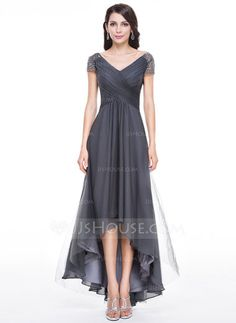 Corte A/Princesa Escote en V Asimétrico Tul Vestido de noche con Volantes Bordado Lentejuelas (017056519) - JJsHouse