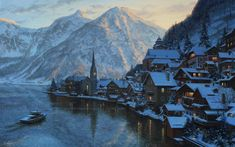 Lushpin painting landscape Austria alps mountains winter snow house chapel lake boat mountain sunset evening Salzburg wallpaper | 2560x1600 | 220516 | WallpaperUP