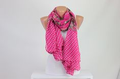 Pink Scarf with White Polka Dot Women's Scarf Fun Dotted Fashion Gift Scarves Street Fashion Dots Fashion, Cool Style, My Style, Pink Scarves, Hippie Gypsy, Love To Shop, Scarf Styles, Womens Scarves, Bag Accessories