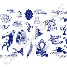 Disney Beauty and the Beast Theatrical A6 Stamp Set - Icons and Sentiment No Colour