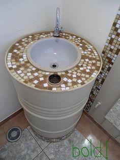 13 Great Ways to Reuse A 55 Gallon Barrel Barrel Sink, Metal Barrel, Water Barrel, Recycled Furniture, Home Furniture, Barrel Projects, Outdoor Sinks, 55 Gallon Drum, Metal Drum
