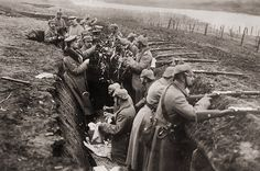 Soldiers decorating a tree in the trenches in 1914 during the 'Christmas Truce'. See more Christmas history moments www.nicfletch.com