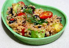 Quinoa, avocado, tomato and black bean salad with chipotle lime dressing