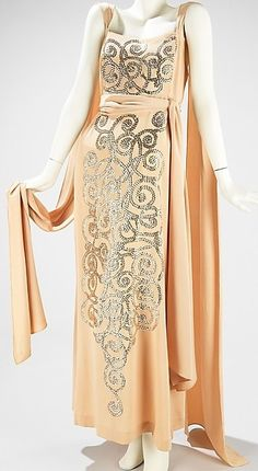 1930s Art Deco Sequined Evening Gown and Train.