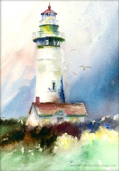 """Newport Light"" - Lighthouse Watercolor by Michael David Sorensen www.MichaelDavidSorensen.com"