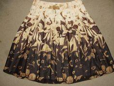 Jones New York Signature Woman Brown Printed Pleated Skirt 100% Cotton Size 4 #JonesNewYork #Pleated