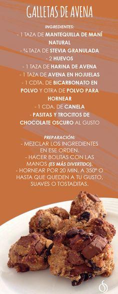 Galletas de avena Diet Recipes, Healthy Recipes, Recipies, Kids Meals, Easy Meals, Healthy Snacks, Healthy Eating, Junk Food, Healthy Choices