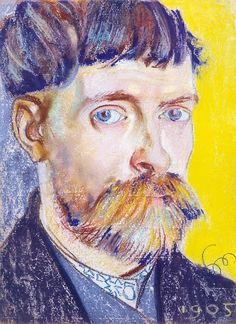 """Stanisław Wyspiański - """"Self-Portrait"""" 1905    Very Van Gogh! Gotta find a real character face to do this semi psychedelic portrait treatment to...looks like one I did in college...lots of green in the shadows."""