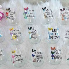 Loving these Disney Wine Glass. They make great gifts for Disney fans! Loving these Disney Wine Glass. They make great gifts for Disney fans! Wine Glass Sayings, Wine Glass Crafts, Craft Gifts, Diy Gifts, Homemade Gifts, Disney Bridesmaids, Bridesmaid Gifts, Bridesmaid Wine Glasses, Disney Bachelorette