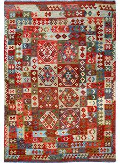 "Multi-colored Oriental Kilim  6' 9"" x 9' 8"" (ft) - No. 12406  http://alrug.com/multi-colored-oriental-kilim-6-9-x-9-8-ft-no-12406.html"