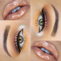 gold lipgloss and bright gold and pink eyeshadow green eyes hazel eyes Gorgeous Makeup, Pretty Makeup, Love Makeup, Makeup Inspo, Makeup Inspiration, Makeup Looks, Peach Makeup, Eyeshadow Green Eyes, Beauty Make-up